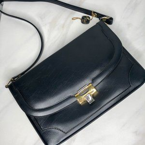 NWT Foka of Spain Marli Shoulder Bag Leather Navy
